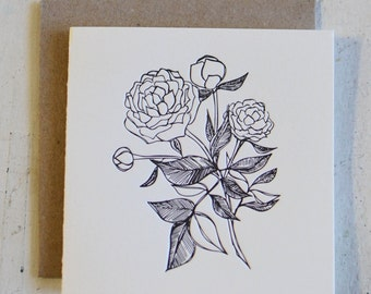 Peony Letterpress Greeting Card