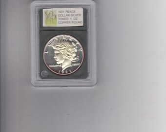 1921 Peace Dollar silver toned 1 ounce copper round signatured