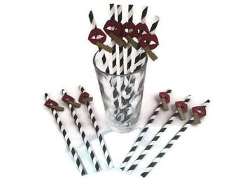 Red lips party straws-lips moustache themed party,birthday party,teen party,hen night,bachelorette
