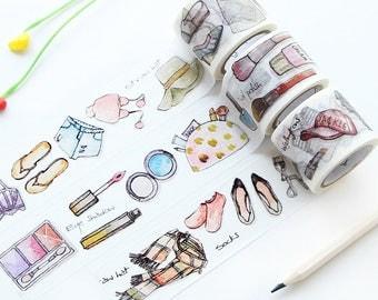 Daily Life Items Washi Tape, Japanese Washi Tape, Decorative Tape, Scrapbook Washi Tape, Make-up Washi, Fashion Washi, Shoes Washi Tape