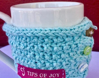 Light Blue Cup Cozy; Hand Knit Cup Warmer with Buttons