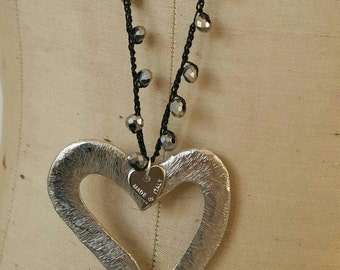 Long necklace with silver crystals, big heart