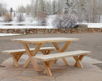 Handmade Beetle Kill Pine Picnic Table with Matching Benches