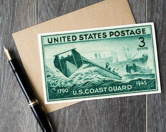 US Coast Guard, US military, Veterans Day, Veterans Day card, Military cards, Military gift card, US postage, Usa stamps, postage stamp art