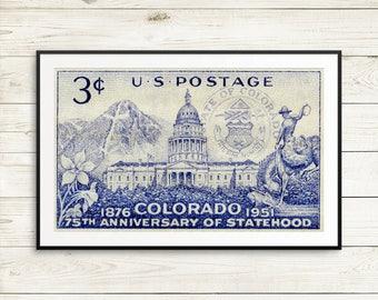 Colorado, Colorado Statehood, Colorado stamp, US postage stamp, postage stamp art, Colorado history, Colorado posters, Colorado prints, art