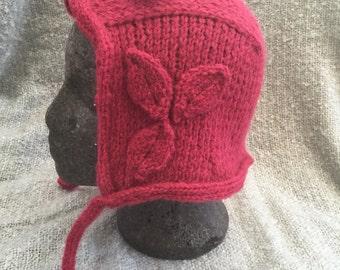 Hand knitted alpaca bonnet