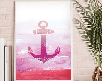 Ocean Coastal Art, Nautical Digital Print, Anchor Printable Art, Anchor Print Art, Anchor Nautical Drawing, Anchor Wall Art, Beach Decor