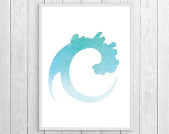 Printable Ocean Wave Wall Art, Ocean Wave Coastal Printable, Ocean Coastal Art, Ocean Printable Art, Coastal Home Decor, Print Beach Ocean