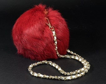Red Clamshell Fur Pompom Purse