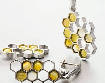 Amber, 925 sterling silver, set , earrings, pendant , natural stone,
