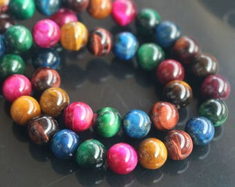 6mm 8mm 10mm  Dyed Multicolor Tigereye Beads,Smooth and Round Beads,15 inch one  strand