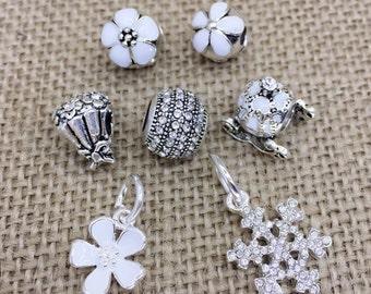 White assorted charm set of 7 european charms fit Pandora bracelet * Our Favotite Picks *