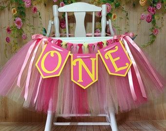 Pink and Yellow High Chair Tutu-High Chair Banner-Highchair tutu-Highchair skirt-Pink Yellow 1st Birthday-Lemonade Colored  High Chair Tutu