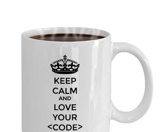 Keep Calm and Love your Code Mug | Funny Programmer Mug | Gifts for Coders | Programmer Mug