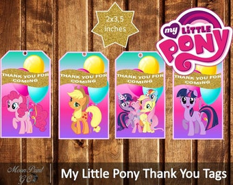 My Little Pony Thank You Tags, Printable, My Little Pony Party, Digital Download, Instant Download