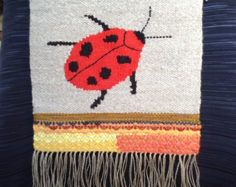 Red Ladybug Handwoven Tapestry Wall Hanging