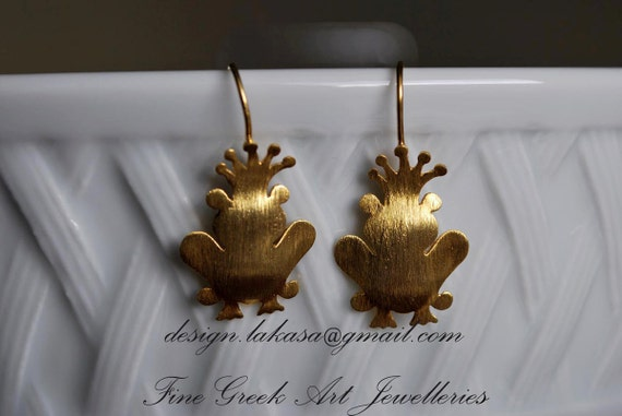 Prince Frog Earrings Silver 925 Gold-plated Lakasa e-shop Jewelry Kiss your Frog My Little Princess for her anniversary gift ideas woman