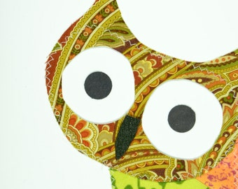 What ? Owl Handmade Fabric Card