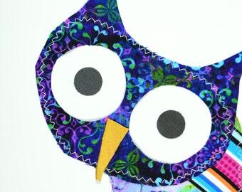 Purple Owl Handmade Fabric Card