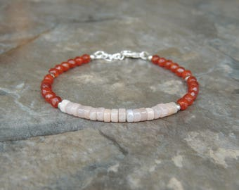 Dainty Delicate Bracelet for Women, Summer Gift Bracelet, Simple Bracelet, Carnelian Bracelet for Her, Minimalist Bracelet Colorful Bracelet