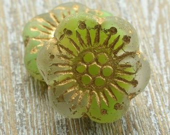 Czech Glass Anemone Flower Beads Lime Soda 18mm, Czech Glass Flowers, Czech Beads, Lime Czech Beads, UK Czech Beads