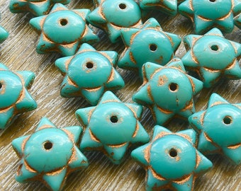 Star Beads, Picasso Beads, Glass Stars, Rustic Beads, Czech Picasso Beads, Czech Beads, Czech Glass Beads, Turquoise Beads, 12mm x 6mm,