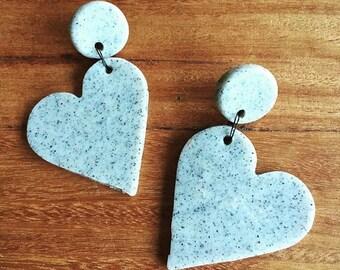 Statement polymer Heart Drop earrings