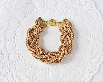 Braided textile bracelet Crochet friendship bracelet Boho style fiber jewelry Crochet jewelry Knitted with beads bracelet Gifts for her