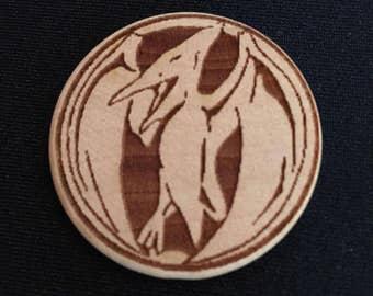 Power Rangers Pink Ranger Pterodactyl Engraved Birch Wooden Power Coin
