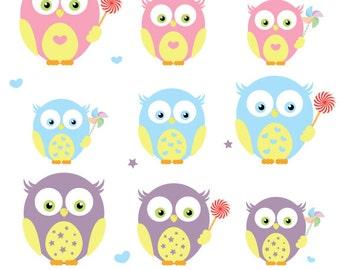 Pastel Owl Clip art, Digital clipart, PNG Images, Instant Download, soft colors
