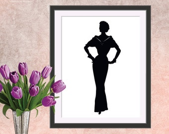 Silhouette vintage 50's woman in evening gown print, Instant download, Digital print, Printable art wall decor, black and white