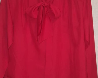 Vintage Neck Tie Blouse/ Bright Red/ Size 14