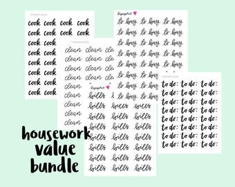 HOUSEWORK VALUE BUNDLE - Bullet Journal Stickers - Planner Stickers - Functional Stickers - Text Stickers