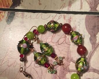 Lampwork bracelet and earrings plus size