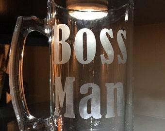 25 oz Boss Man Beer Stein • Beer • Stein • Boss • Man • Mug • Present • Gift • 25 oz
