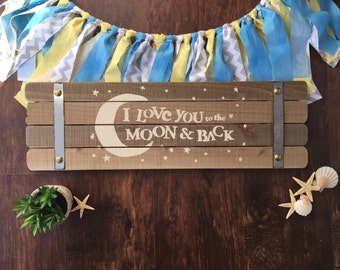 I love you to the moon and back - woodland nursery - woodland nursery wall art - painting - woodland nursery girl - moon and back