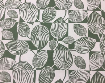 White cotton fabric with green striped leaves, Scandinavian design, striped fabric, green and white fabric