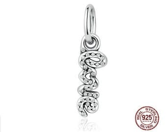 LOVE charm 925 Sterling Silver with Clear CZ, Fits Pandora, Famous European Snake Chain Bracelets, DIY Jewelry