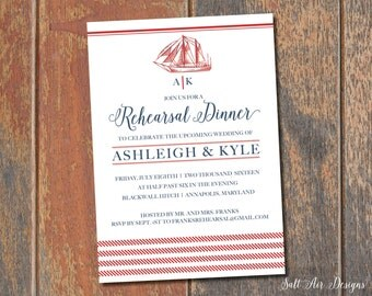 Printable Nautical Rehearsal Dinner Invitation. Sailboat. Red & Navy Invitation.