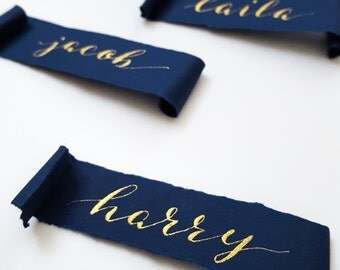 Handwritten Calligraphy Name Place Cards Navy and Gold