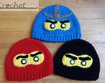 Crochet Ninjago Hat, Ninjago Beanie, Crochet Lego Hat, Winter Hat, Gifts