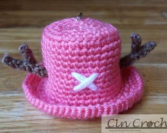 Crochet Chopper Hat Keychain, Crochet Tony Tony Chopper Hat Keychain, Crochet One Piece Keychain, Crochet Keychain Pendant, Keychain Charm
