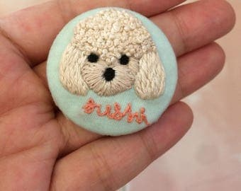 Mini Pet Portrait Pin/ Brooch embroidery. Personalized