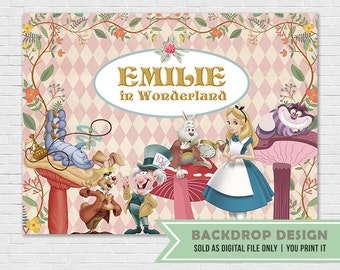 Alice in Wonderland Party Backdrop Banner // Digital File Only // NOT SOLD as printed backdrop,You Print it