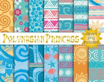 Polynesian Princess, Ocean, Aloha, Luau, Hawaiian Girl Party, Digital Papers, Pattern, Seamless, scrapbooking, invitation