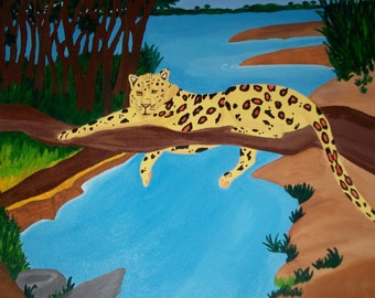 16x20 inch Jungle Leopard Painting