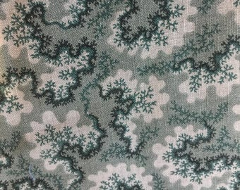 Green Meandering Design on Cotton Fabric