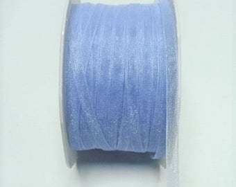 "Baby blue sheer ribbon 1/4"" wide, 50 yards"