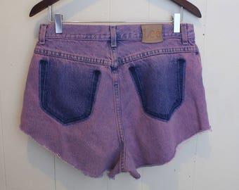 Purple denim shorts | Etsy