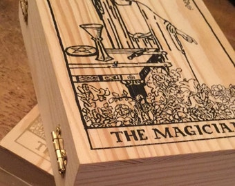 Handcrated wooden Tarot box , For storing your cards , Hinged with a metal clasp to front